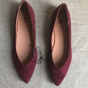 Suede Burgundy Flats From H&M